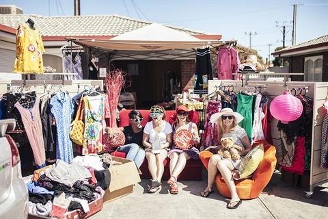 Family selling items for garage sale