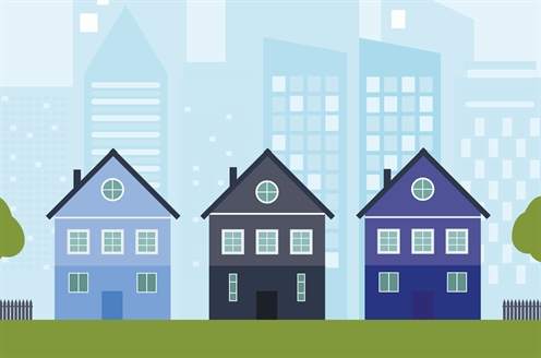 Illustrated image of several houses next to each other